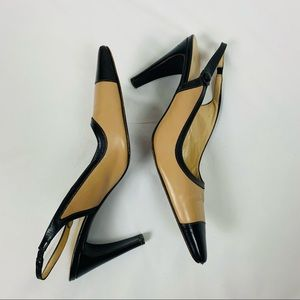 Coach Leather Slingback Heels Brown and Tan Sz 8.5